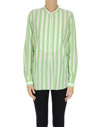 Massimo Alba Striped Cotton Shirt - Green