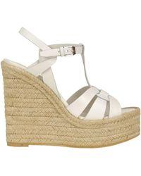 Saint Laurent Tribute Wedge Sandals - White