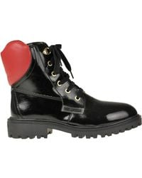 Love Moschino Patent-leather Lace Up Boots - Black