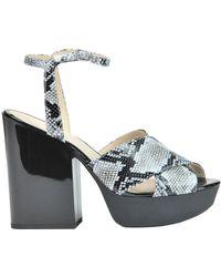 Hogan - Women's Black Leather Sandals - Lyst
