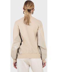 Glassworks Beige Vegan Leather Contrast Panel Sweatshirt - Natural