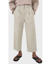 Glassworks Khaki Pleat Front Adjustable Waistband Trousers - Natural