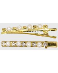 Glassworks Gold Thick Pearl And Diamond Hair Clip Set - Metallic