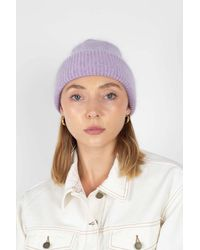 Glassworks Lilac Mohair Beanie Hat - Purple