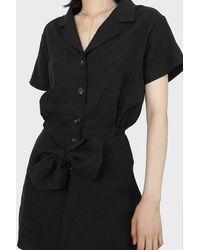 Glassworks Black Short Sleeved Button Up Tie Waist Romper
