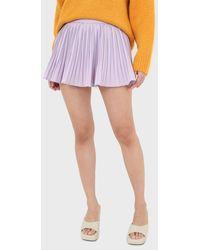 Glassworks Lilac Pleated Silky Mini Skirt - Purple