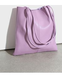 Glassworks Lilac Vegan Leather Pinched Strap Tote Bag - Purple