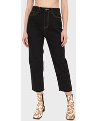 Glassworks Black And Beige Contrast Stitch Jeans - 957