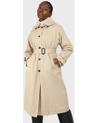 Glassworks Beige Faux Fur Collar Lined Trench Coat - Natural