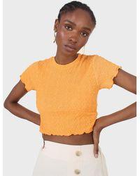 Glassworks Orange Shirring Crew Neck Tee