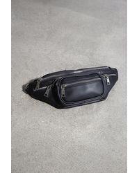Glassworks Black Vegan Leather Silver Zip Bum Bag - Multicolour