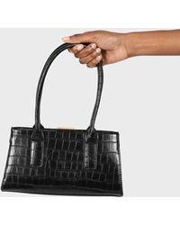 Glassworks Black Vegan Croc Skin Mini Crossbody Handbag
