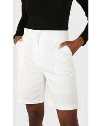 Glassworks Ivory Linen Tailored Long Shorts - White