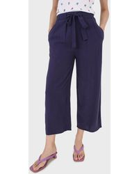 Glassworks Navy Thick Tie Front Linen Trousers - Blue