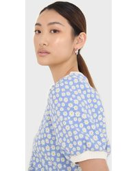 Glassworks Blue And White Daisies Short Puff Sleeved Top
