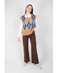 Glassworks Camel And Bright Blue Argyle Jumper Vest