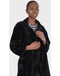 Glassworks Black Faux Mink Fur Belted Long Coat
