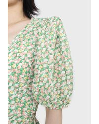 Glassworks Green And Pink Floral Wrap Style Midi Dress