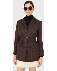 Glassworks Brown Checked Wool Blend Thick Belted Blazer