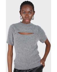 Glassworks Charcoal Peek Chest Angora Wool Blend Knit Top - Grey