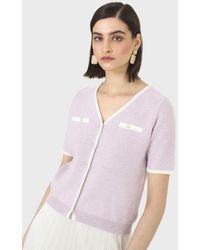 Glassworks Lilac Short Sleeved Button Front Knit Top - Purple