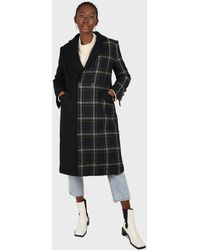 Glassworks Navy Contrast Checked Panel Wool Blend Coat - Multicolour