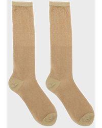 Glassworks Gold Glitter Superstar Long Socks - Multicolour