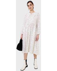Glassworks Ivory And Black Polka Dot Decorative Collar Dress - White
