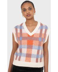 Glassworks Ivory Blue And Orange Brushed Plaid Jumper Vest