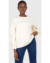 Glassworks Cream Vegan Leather Contrast Sleeve Sweatshirt - Multicolour