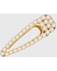 Glassworks Gold Thick Pearl Lined Hair Clip - Metallic