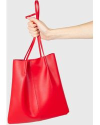 Glassworks Red Vegan Leather Pinched Strap Tote Bag