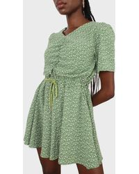 Glassworks Green And White Floral Print Tie Waist Romper