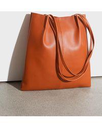 Glassworks Camel Vegan Leather Pinched Strap Tote Bag - Multicolour