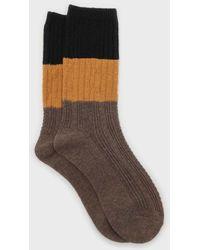 Glassworks Brown Yellow And Black Triple Colorblock Socks