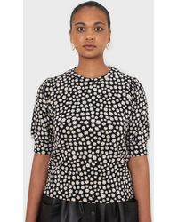 Glassworks - Black And White Daisy Puff Sleeved Top - Lyst