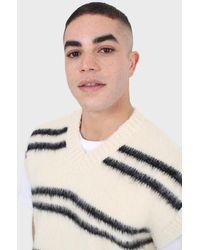 Glassworks Ivory And Black Striped Wool Blend Jumper Vest - Multicolour