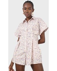 Glassworks Pink And Yellow Ditsy Floral Romper