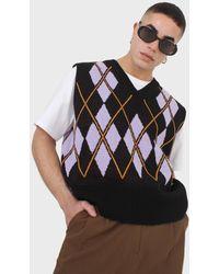 Glassworks Black And Lilac Argyle Jumper Vest
