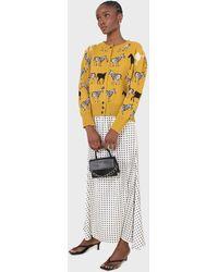 Glassworks Ivory And Black Polka Dot Elasticated Waistband Maxi Skirt - Multicolour