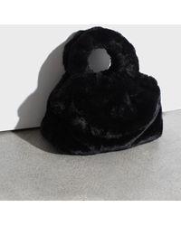 Glassworks Black Furry Ring Handle Crossbody Handbag