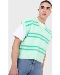Glassworks Mint Striped Wool Blend Jumper Vest - Green