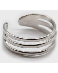Glassworks Silver Mini Triple Tier Ring - Metallic