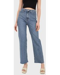 Glassworks Mid Blue High Waisted Cuffed Jeans - 608