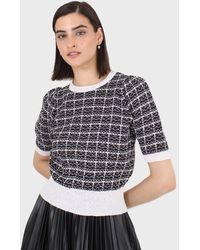 Glassworks Black And Ivory Checked Knitted Puff Sleeved Top