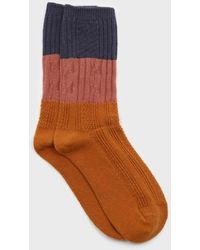 Glassworks Orange Pink And Blue Triple Colorblock Socks