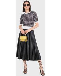 Glassworks Black Vegan Leather Pleated Midi Skirt