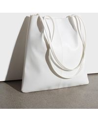 Glassworks Ivory Vegan Leather Pinched Strap Tote Bag - White