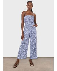 Glassworks Blue And White Graphic Floral Ruched Bodice Jumpsuit