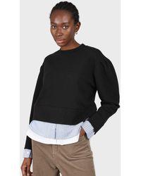 Glassworks Black Layered Hem Puff Sleeved Sweatshirt
